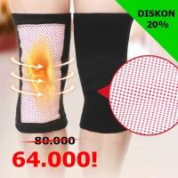 1 pasang Tourmaline Knee Support Hangat Panas/Dekker Lutut/Legsleeve - Hitam, Large