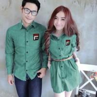 Baju Pasangan Hem Kemeja Couple Denim Style Fila