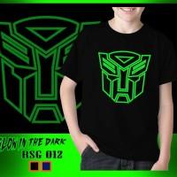 Baju Kaos Anak Superhero Transformers Optimus Glow in the dark