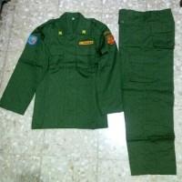 setelan baju celana Seragam Pdl limnas Linmas Drill panjang hijau army