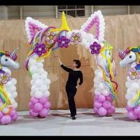 Dekor balon gate unicorn n standing balon n backdrop