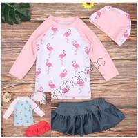 Baju renang anak perempuan import satu set dengan topi 1-10 tahun