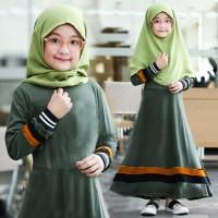 [Syari Herlina Kids Army SW] Baju muslim anak perempuan babytery hijau