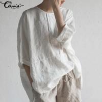 baju wanita import Celmia Vintage Wanita Katun Linen Blus Musim Panas