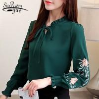 baju wanita import Plus Ukuran Wanita Atasan Bunga Bordir Blus Sifon