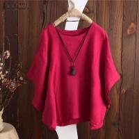 baju wanita import Zanzea 2018 Musim Panas Atasan Tunik Wanita Blus
