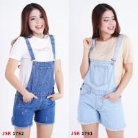 Celana Pendek Baju Kodok Wanita Jeans Overall Ripped Short Jumpsuit - Biru, 27