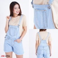 JSK1751 Celana Pendek Baju Kodok Jeans Overall Ripped Short Jumpsuit