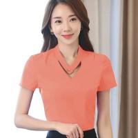 Putri Blus Tangan Pendek Leher V Gaya Korea Variasi Kancing