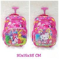 Tas Trolley Ransel Anak SD Sequin Berubah Gambr Little Pony jadi Kitty