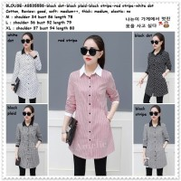 Baju Atasan Kemeja Wanita Kotak Garis Dot Korea Import AB535558 Tunik