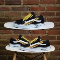 Sepatu Vans OFF WHITE x Vans Old Skool Willy Skateboards Black Yellow