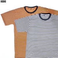 Baju Kaos Stripe Belang Salur - Hitam Putih Orange Hitam