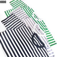 Baju Kaos Stripe Salur Belang - Hitam Abu Hijau Putih