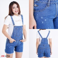 JSK1752 Celana Pendek Baju Kodok Jeans Overall Ripped Short Jumpsuit