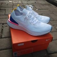 Original BNIB Sepatu Running Nike Epic React Flyknit White Blue