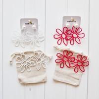 Anting Tusuk / Earrings / Giwang Bunga Kikyo - Merah / Putih