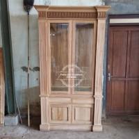 Furniture Lemari Kaca Hias - Lemari Penyekat Ruangan Jati Free Ongkir