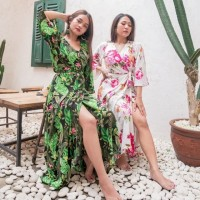 baju pantai bali long wrap dress tropical (hijab friendly)
