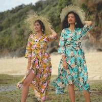 baju pantai bali long wrap dress floral (hijab friendly)