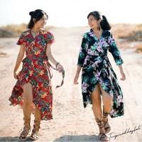 baju pantai bali long wrap dress bunga (hijab friendly)