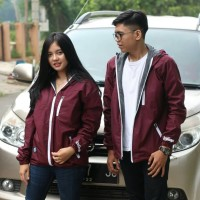jaket couple ondor warna merah maron size M L
