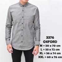 Baju Kemeja Lengan Panjang Casual Pria Abu Tua Polos Oxford Slimfit - , M