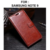 Leather Flip Case Cover Samsung Galaxy Note 9 Case Kulit Dompet Note 9 - Cokelat
