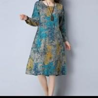 zanzea loose midi dress plus size elegant pocket / baju wanita