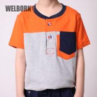 Welborn Kids Kaos Polo Abu Abu Orange Anak Laki