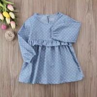 Baju Anak Import | Dress Denim Biru Muda Motif Polkadot
