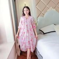 Baju Tidur Setelan Daster Piyama Kimono Lingerie Bunga Renda Wanita