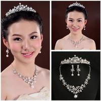 Mahkota Perhiasan set kalung anting pesta pengantin CC299