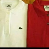 kaos polo shirt kaos pria LACOSTE warna putih sama merah stok ada