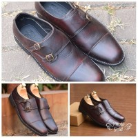 sepatu pentofel azcost monkstrap burgundy size 39-43 new