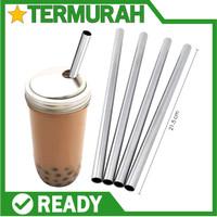 Sedotan Stainless Steel Straw Bubble Tea Sedotan Metal Ramah Besar