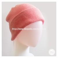 Topi Kupluk Rajut Dewasa Pink Baby Beanie Hat Polos