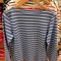 Atasan kaos wanita,Uniqlo,lengan panjang,motif garis,warna biru muda