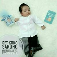 Setelan Baju Koko Sarung Peci Baju Bayi Akikah Newborn Size M