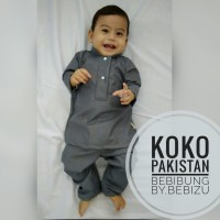 Baju Koko Setelan Pakistan Baju Bayi Akikah Newborn XS - Abu Tua