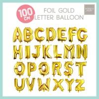 Balon Foil Huruf Jumbo 100cm Emas / Gold Giant Number Balloon