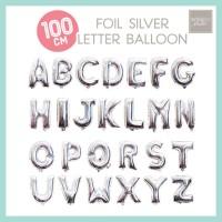 Balon Foil Huruf Jumbo 100cm Silver / Giant Number Balloon