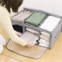 Storage bag box bamboo 3 sekat tempat pakaian baju dan celana F214