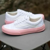 Sepatu vans oldskool women white pink mono pink qualitas premium