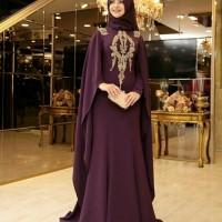 Baju Busana Muslim Wanita Gamis Cape Casebo / Maxi Alda Marun Terbaru