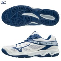 sepatu volly mizuno thunderblade white blue original