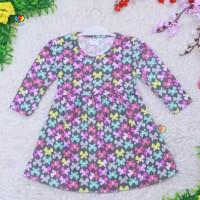 Dress Azizah 3-4 Tahun / Dres Anak Lengan Panjang Baju Harian Motif