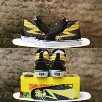 Sepatu BAD BRAINS x Vans SK8 HI High Le Black Cyber Yellow BNIB