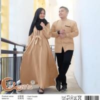 baju couple. gamis muslimah dan kemeja pria lengan panjang warna mocca