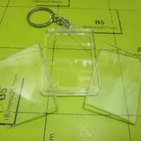 bahan gantungan kunci akrilik 2 sisi kotak insert paper